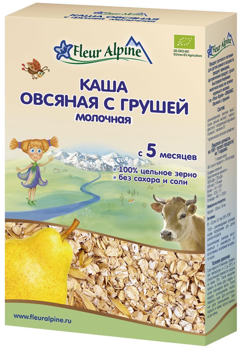 Fleur Alpine Organic каша молочная овсяная с грушей, 5 месяцев, 200 г