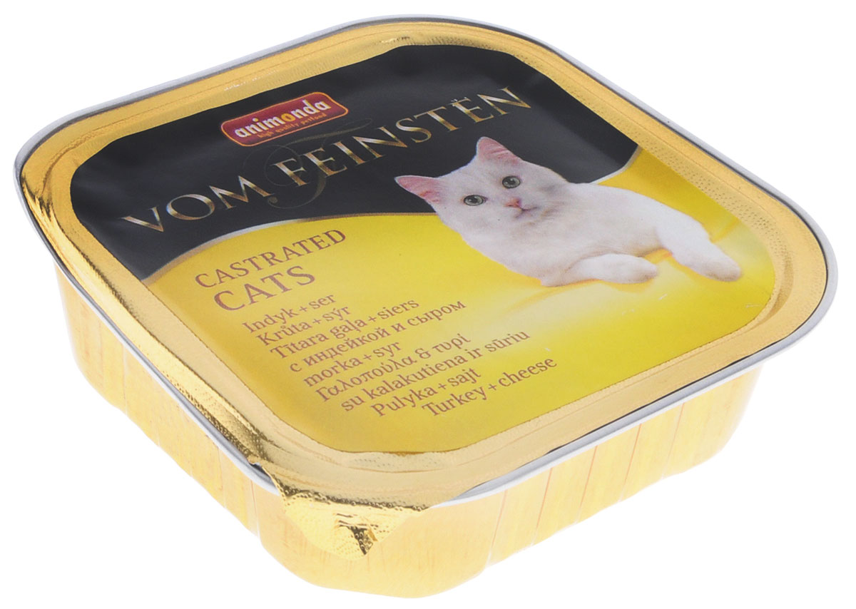 Консервы Animonda Vom Feinsten для кастрированных и стерилизованных кошек, с индейкой и сыром, 100 г еда для кошек