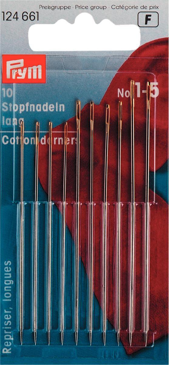 Набор ручных игл Prym №1-5, для штопки, 10 шт набор игл ручных prym для шитья 1 5 16 шт