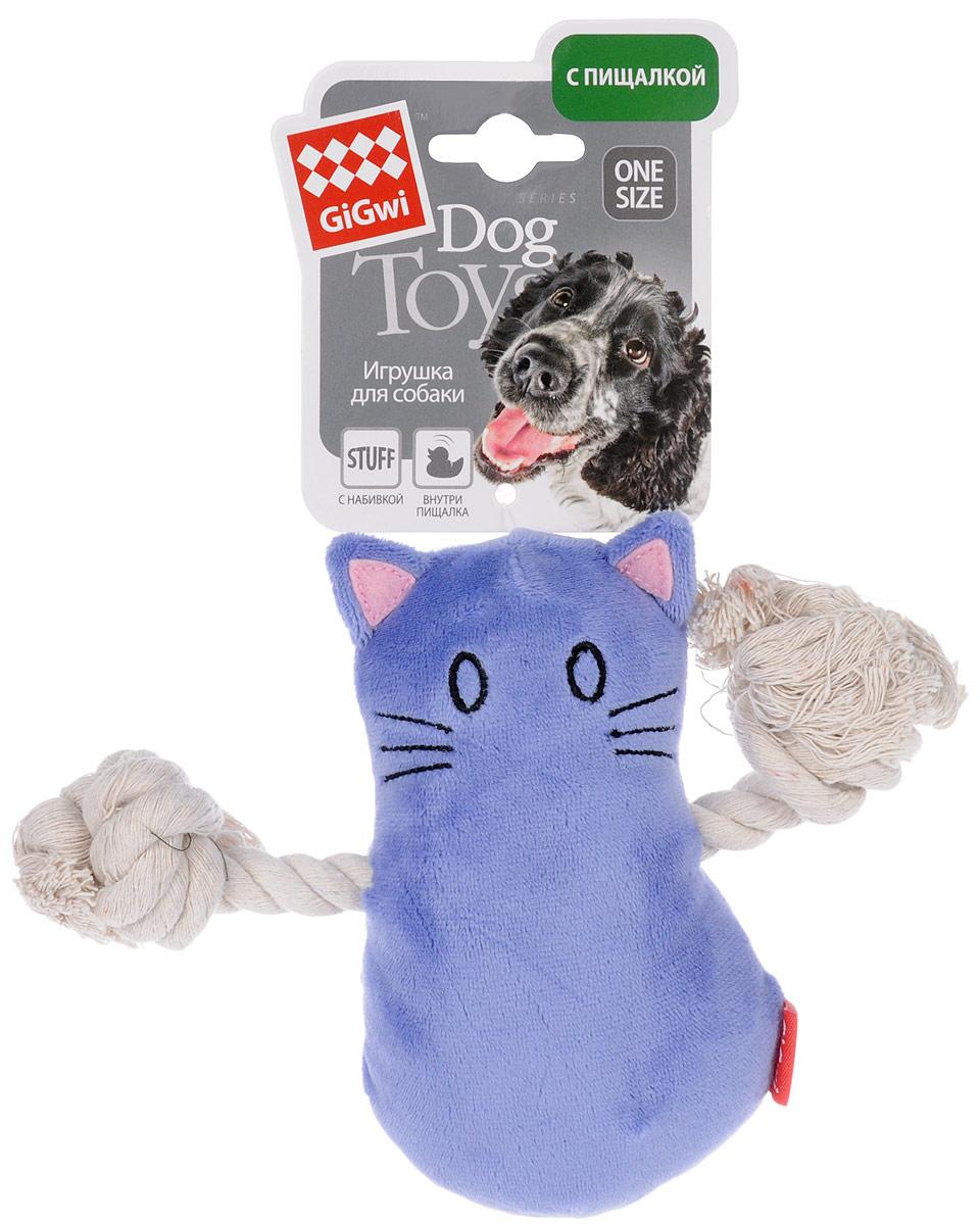 Игрушка для собак GiGwi Кот, с пищалкой, длина 14 см. 75034 игрушка для собак gigwi мячи с пищалкой диаметр 8 см 3 шт