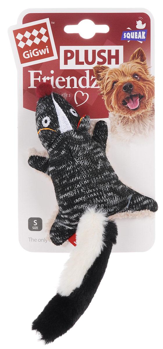 Игрушка для собак GiGwi Скунс, с пищалкой, длина 10,5 см игрушка для собак gigwi мячи с пищалкой диаметр 8 см 3 шт