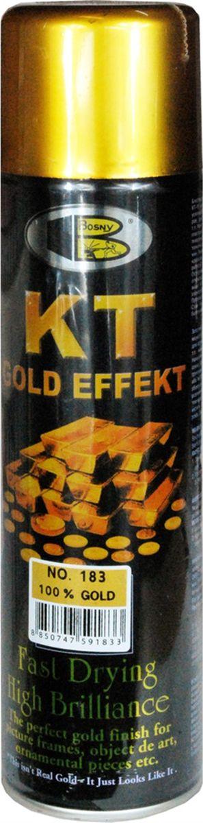 Краска аэрозольная Bosny 18 Карат, цвет: золотой металлик (183), 300 мл183Аэрозольная краска Bosny 18 Карат является прекрасным средством для декорирования деревянных, металлических, гипсовых или пластиковых поверхностей внутри квартиры, имеют слабовыраженный запах и прекрасные художественно-эстетические свойства. Она распределяется ровным слоем, быстро сохнет и имеет специальный золотой пигмент повышенной яркости и стойкости. Специальный пигмент, в составе позволяет любым поверхностям, покрытым краской - деревянным, пластиковым или металлическим, приобретать ярко-выраженный эффект настоящего золота или меди. Краской 18 Карат можно покрывать рамы картин, ножки кресел и стульев, придавая им цвет античного золота, декорировать всевозможные подставки, вазы и основы для ручного творчества, или красить деревянные, керамические или гипсовые изделия, результат индивидуального творчества. Также краска подходит для реставрации поверхностей, давно утратившей внешний вид.