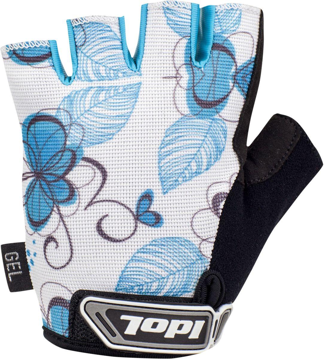 Перчатки велосипедные женские Idol Isel, цвет: белый, голубой. Размер L
