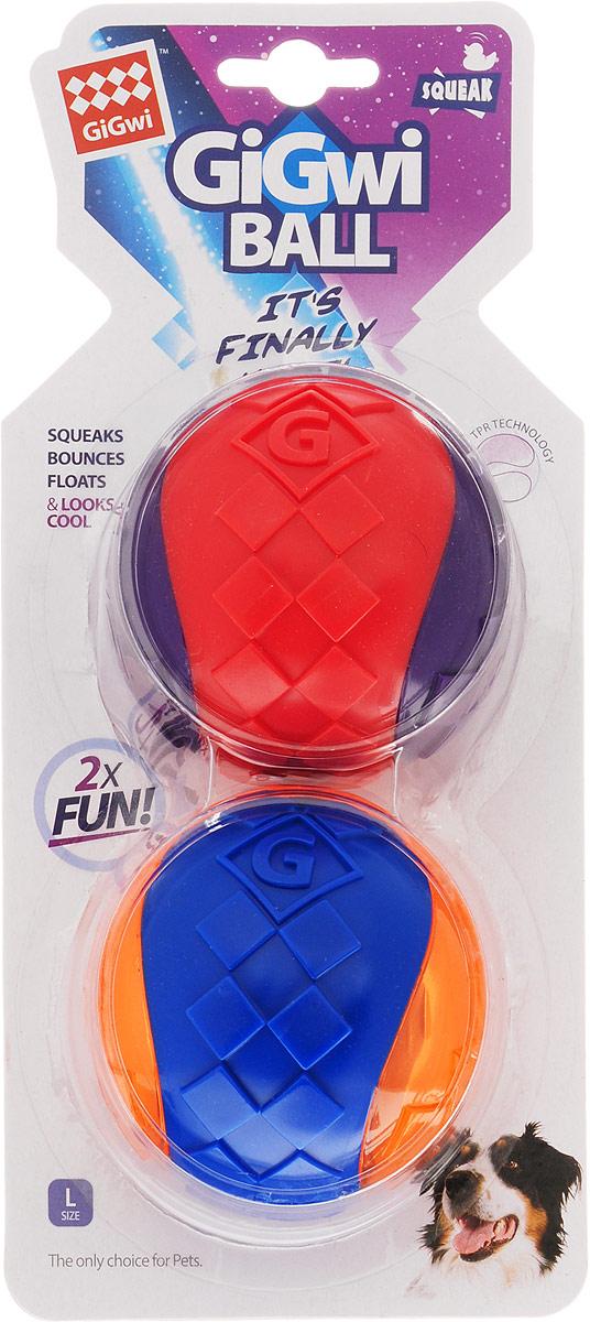 Игрушка для собак GiGwi Два мяча, с пищалкой, 2 шт, диаметр 8 см. 75336 игрушка для собак gigwi мячи с пищалкой диаметр 8 см 3 шт