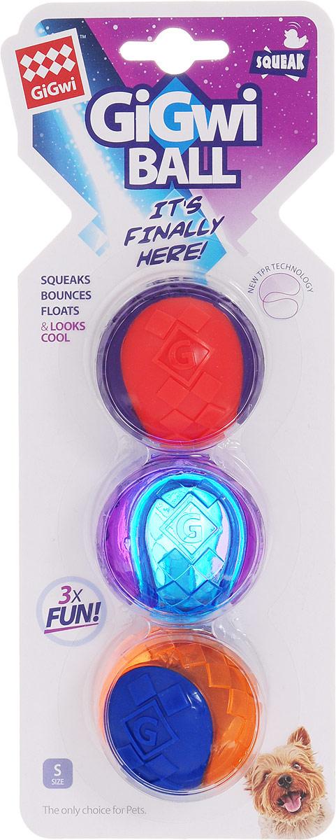 Игрушка для собак GiGwi Мячи, с пищалкой, диаметр 5 см, 3 шт игрушка для собак kong косточка средняя с пищалкой цвет фиолетовый 15 5 х 6 5 х 3 5 см