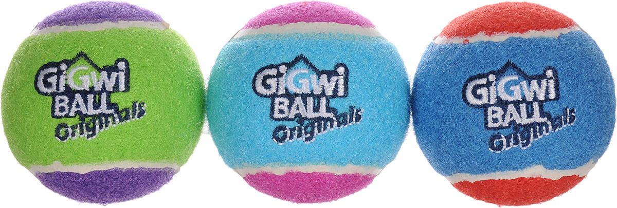 Игрушка для собак GiGwi Мячи, с пищалкой, диаметр 6,3 см, 3 шт игрушка для собак gigwi мячи с пищалкой диаметр 8 см 3 шт