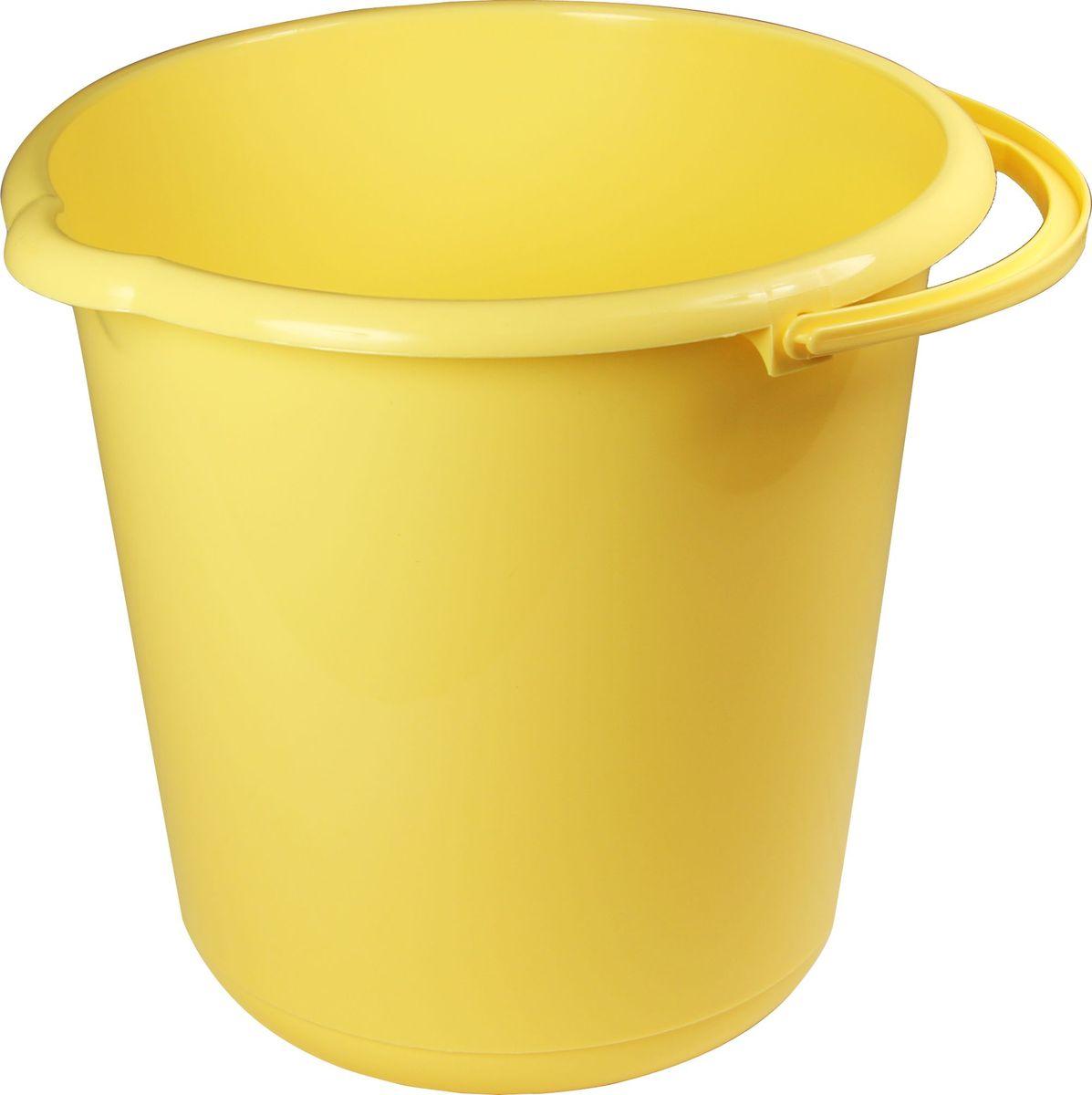 Ведро хозяйственное Idea, цвет: банановый, 15 л ведро idea цвет марморный 10 л