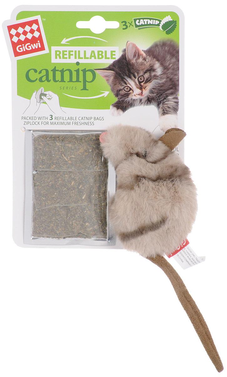 Игрушка для кошек GiGwi Мышка, с кошачьей мятой, длина 10 см. 75382 игрушка для кошек gigwi интерактивная мышка длина 8 5 см