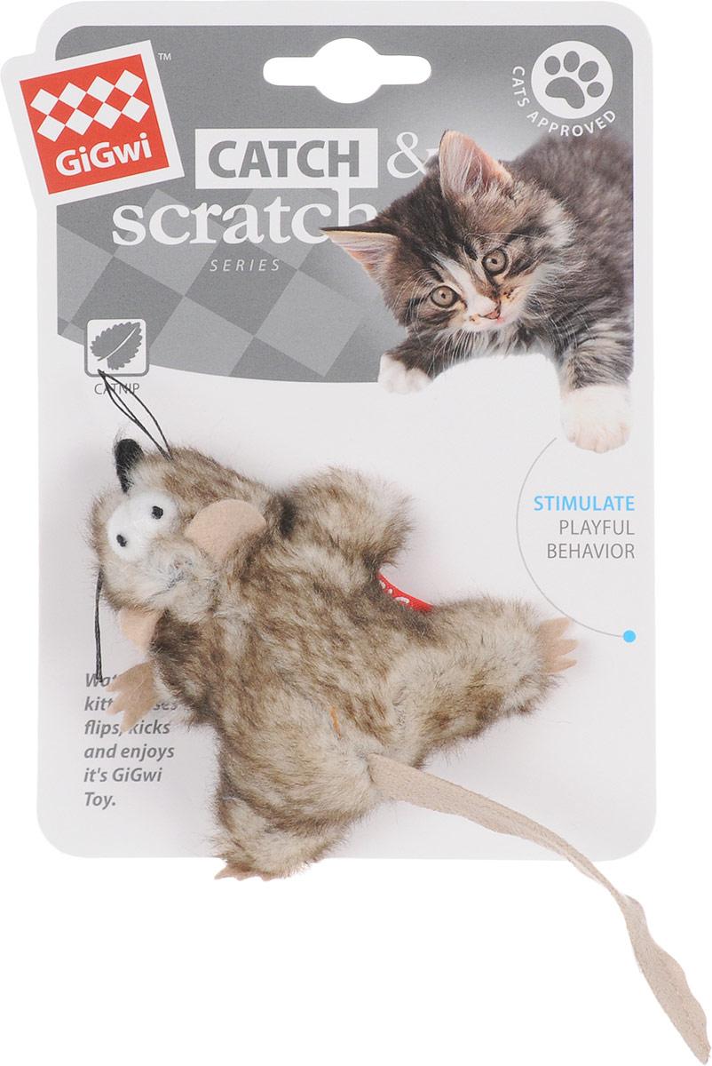 Игрушка для кошек GiGwi Мышка, с кошачьей мятой, длина 8 см игрушка для кошек gigwi интерактивная мышка длина 8 5 см