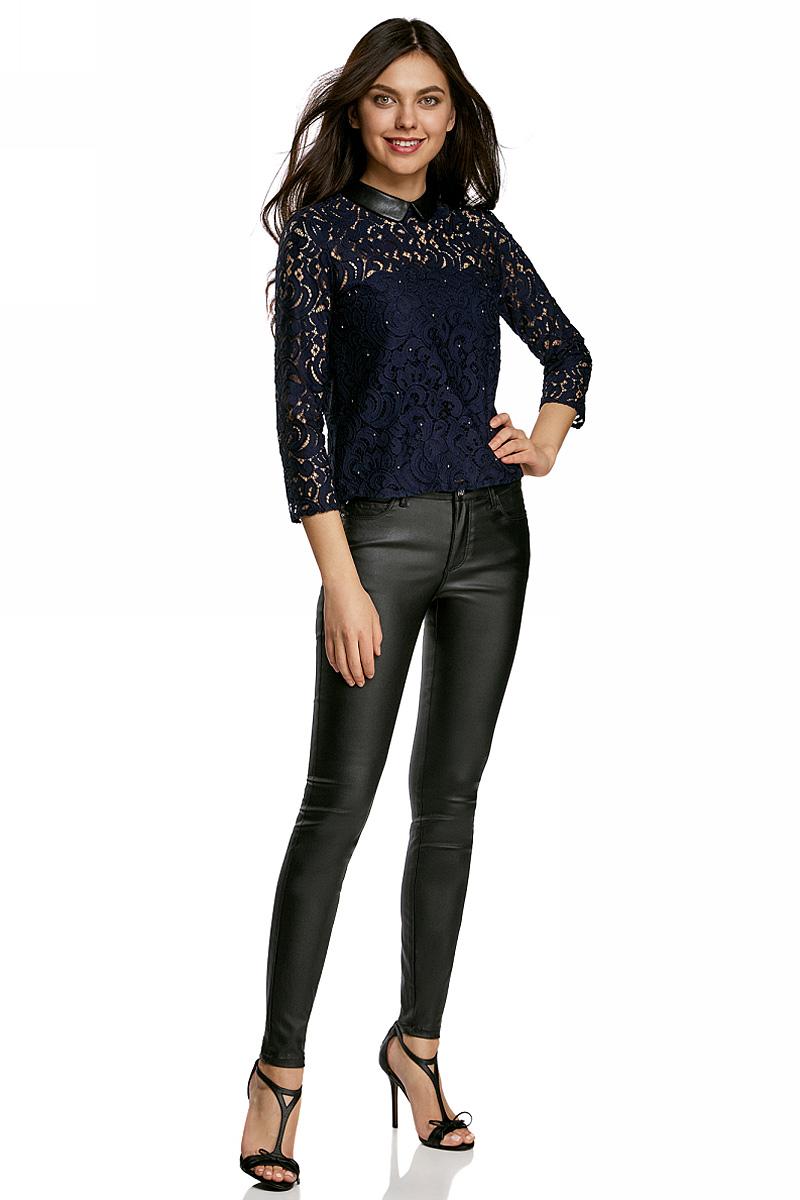Фото - Блузка oodji блузка женская oodji collection цвет кремовый темно коричневый 21414004 45906 3039a размер 36 170 42 170