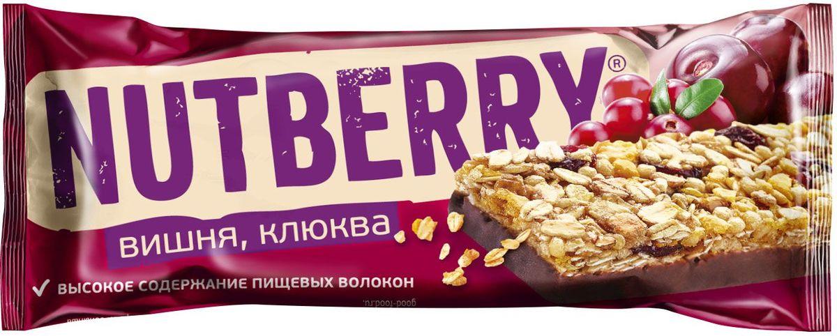 Nutberry глазированный батончик из сухофруктов мюсли с вишней и клюквой, 30 г nutberryфруктовый батончикфиник абрикос 30г