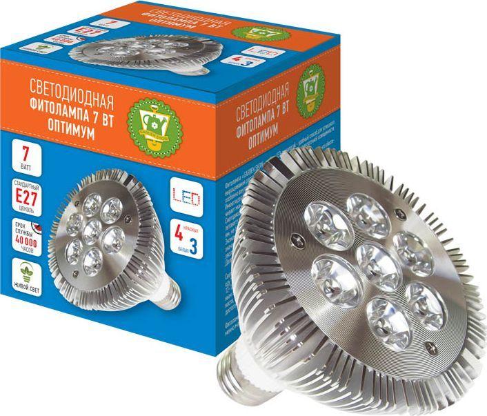 Фитолампа светодиодная Garden Show Оптимум, 7 Вт, 7 LED (4 красных, 3 белых) фитолампа для растений ppg t8i 900 agro 12w