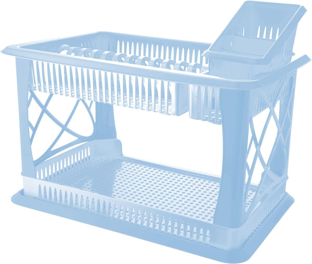 """Сушилка для посуды Plastic Centre """"Лилия"""", 2-х ярусная, с сушилкой для столовых приборов, цвет: голубой, 49 х 17,5 х 32,5 см"""