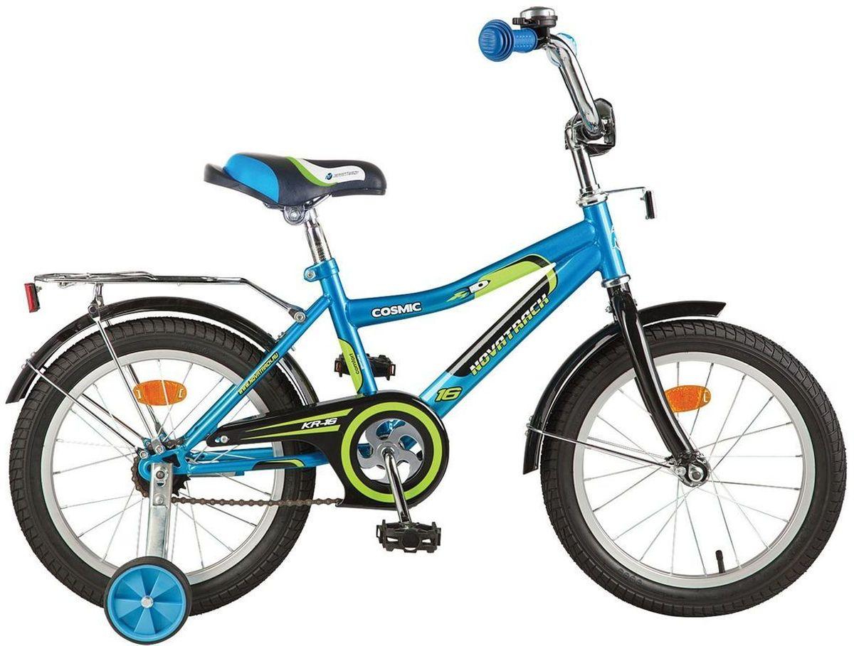 Велосипед детский Novatrack Cosmic, цвет: синий, зеленый, черный,12 велосипед для организма