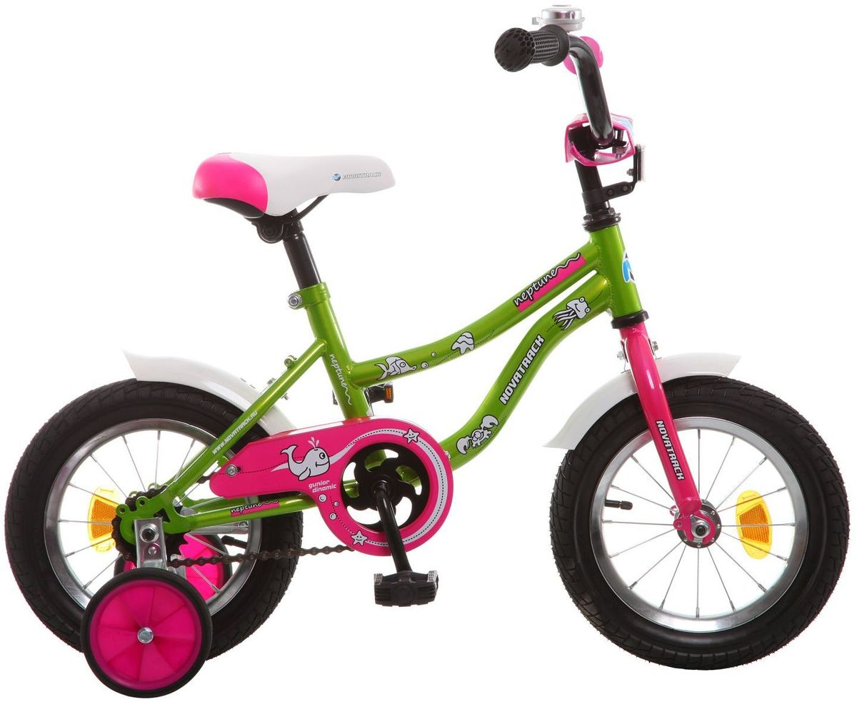 Велосипед детский Novatrack Neptune, цвет: зеленый, розовый, 12123NEPTUN.GN5Если вам нужен качественный, надежный и оптимальный по цене велосипед для ребенка, то это, конечно - Novatrack Neptun 12'', который рассчитан на малышей 2-4 лет. Достаточно только взглянуть на эту модель, чтобы понять, насколько удобно и безопасно будет чувствовать себя ваш сын или дочка. Да-да, этот велосипед прекрасно подойдет и мальчику, и девочке. Это детское двухколесное транспортное средство прекрасно управляется даже самыми неопытными велосипедистами, ведь его конструкция тщательно продумана с учетом того, что кататься на этом велосипеде будут малыши. В частности, модель снабжена ограничителем поворота руля, что не позволит ребенку слишком сильно вывернуть переднее колесо велосипеда и упасть. Установлены дополнительные опции: защита цепи, стильные укороченные крылья, мягкие накладки, которые служат еще и элементом дизайна, громкий звонок и катафоты. Какой велосипед выбрать? Статья OZON Гид Рекомендуем!