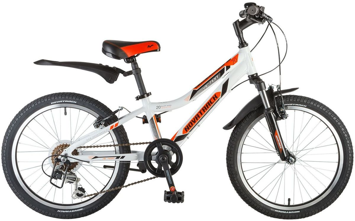 Велосипед детский Novatrack Action, цвет: белый, оранжевый, черный, 20 велосипед детский novatrack fs 30 цвет светло сиреневый белый черный 20