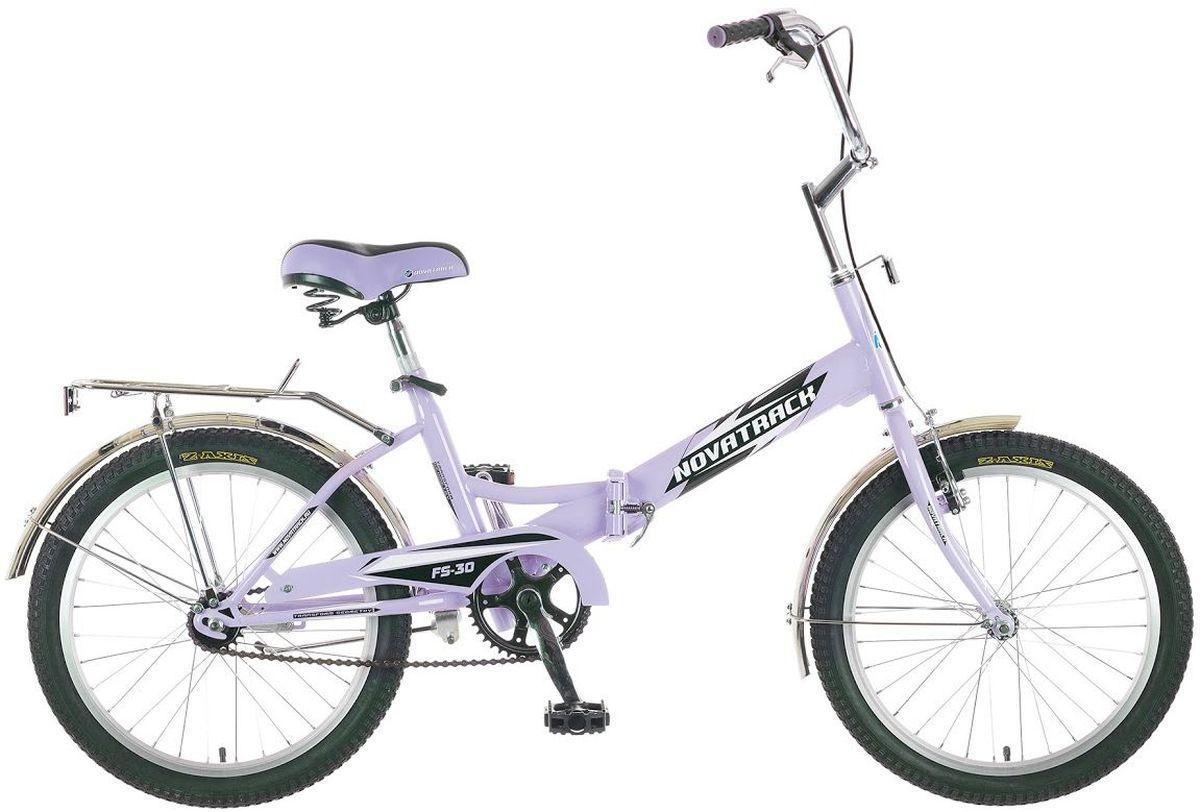 Велосипед детский Novatrack FS-30, цвет: светло-сиреневый, белый, черный, 20 велосипед детский novatrack action цвет черный 24