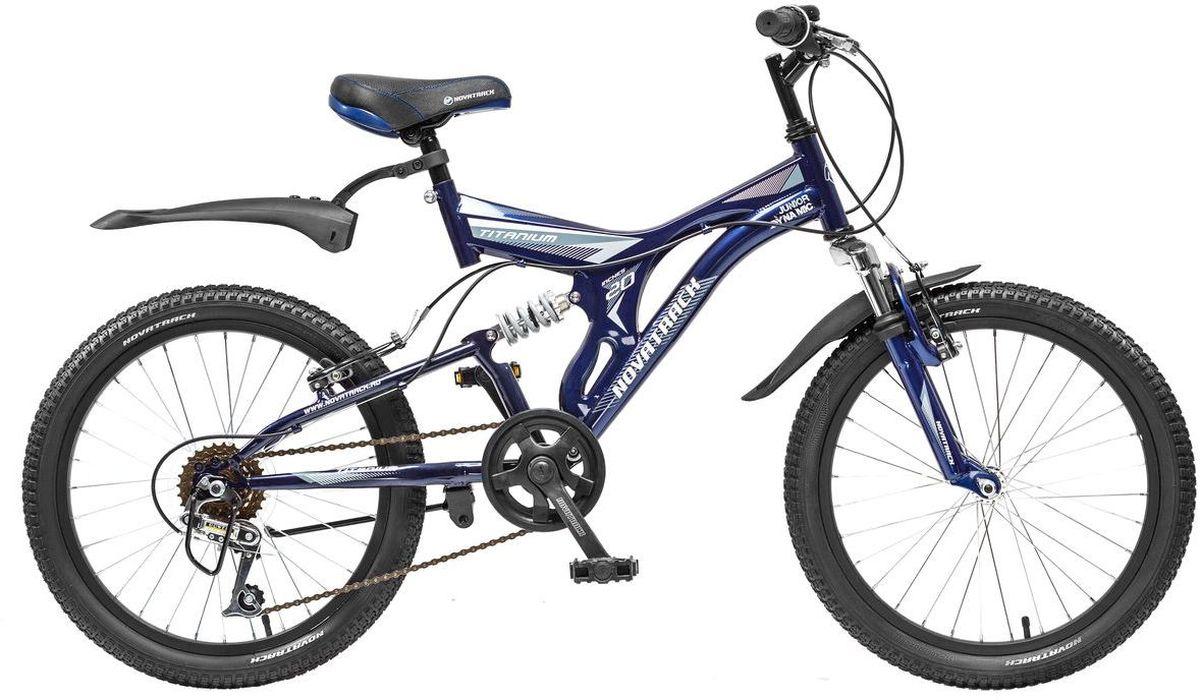 Велосипед детский Novatrack Titanium, цвет: темно-синий, белый, 20