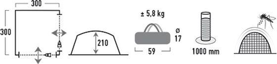 Палатка High Peak PAVILLON цвет  светлосерый темносерый 300 х 300 х 210 см  14046