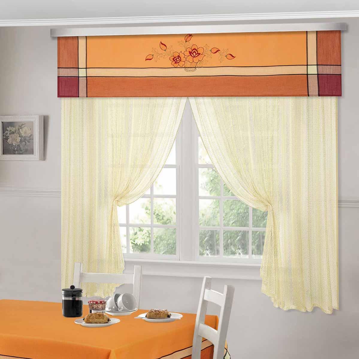 Комплект штор ТД Текстиль Шик, на ленте, цвет: оранжевый, высота 180 см. 92528