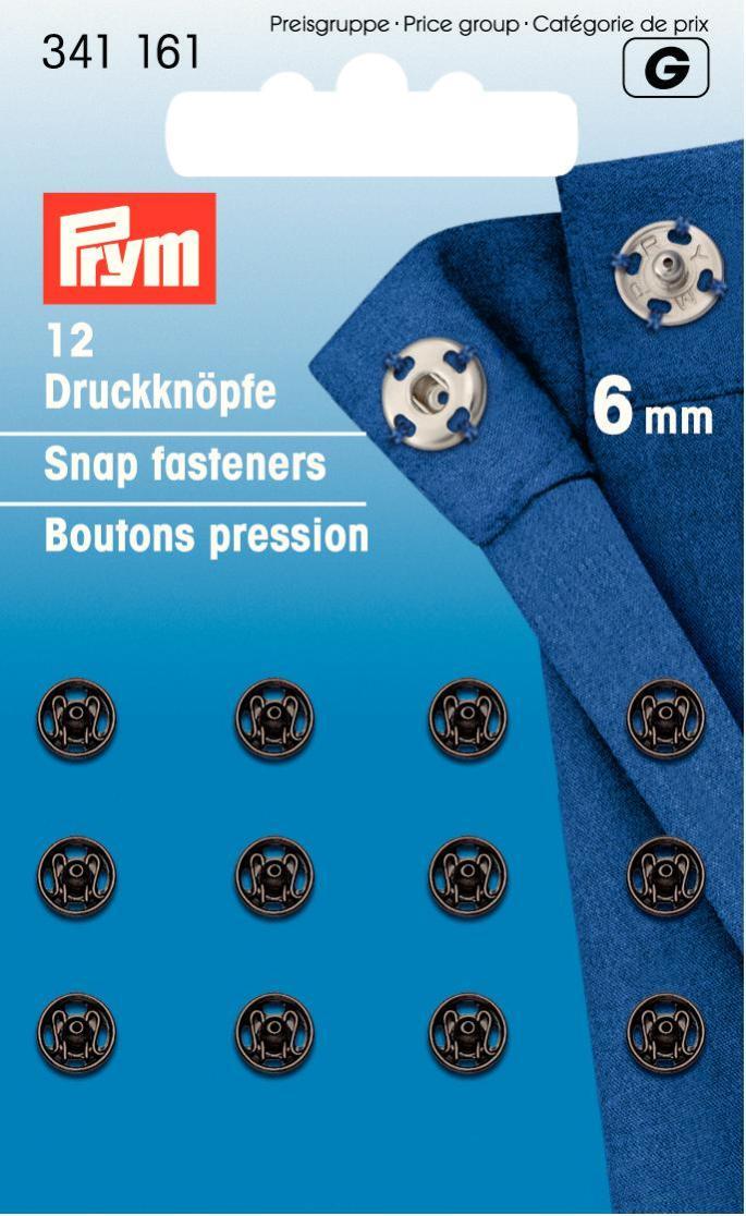 Набор кнопок Prym, цвет: черный, 6 мм, 12 шт