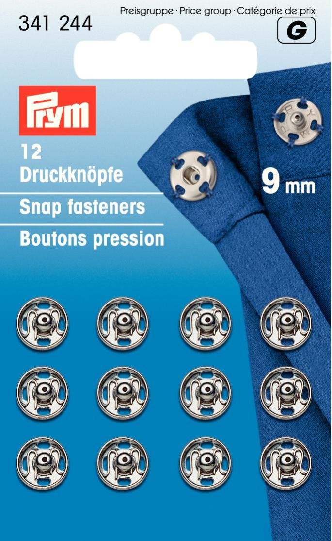 Набор кнопок Prym, цвет: серебристый, 9 мм, 12 шт