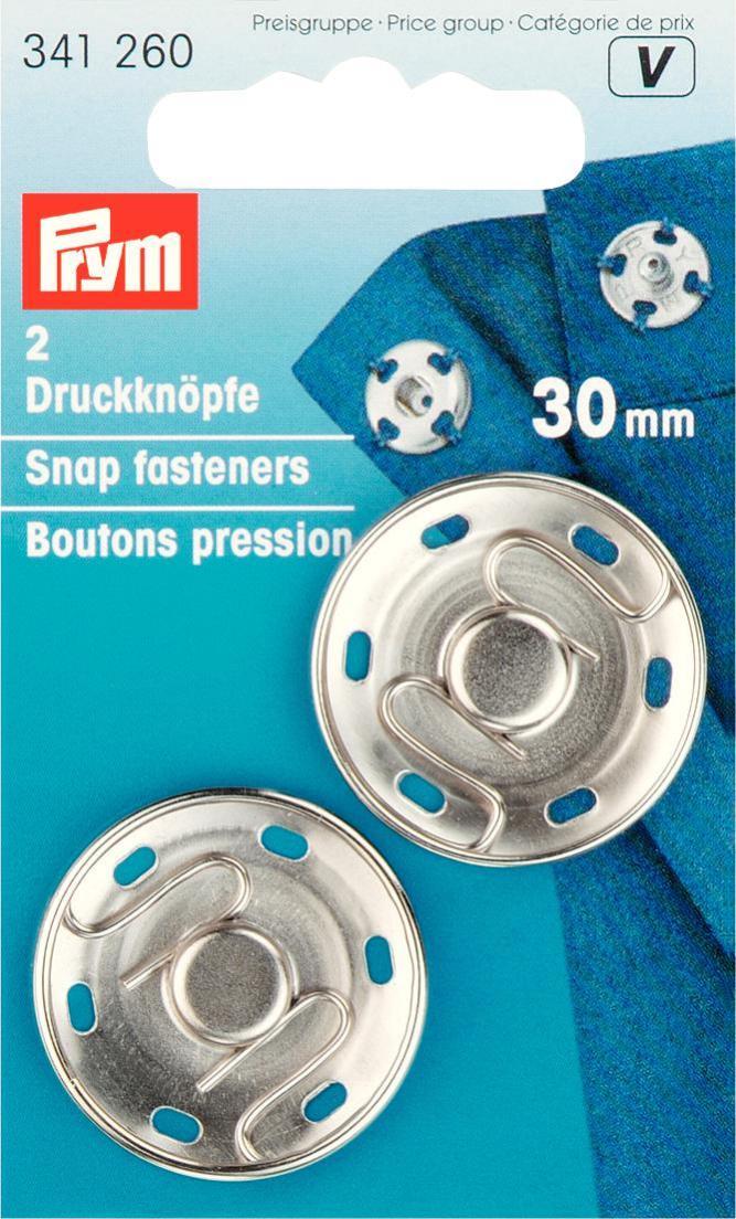 Набор кнопок Prym, цвет: серебристый, 30 мм, 2 шт