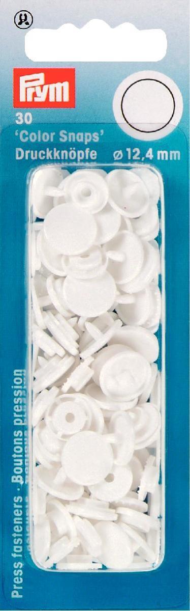 Кнопки Prym Color Snaps, цвет: белый, диаметр 12,4 мм, 30 шт набор инструментов для установки кнопок prym color snaps