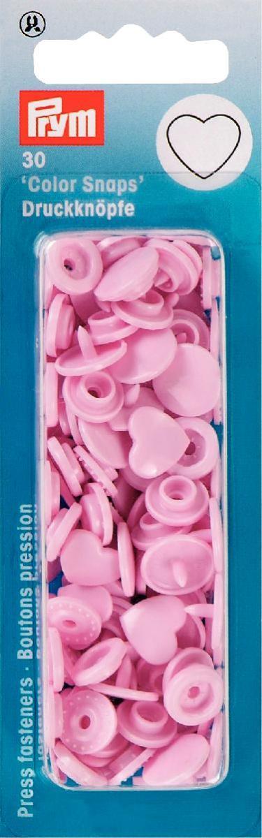 Набор кнопок Prym Color Snaps. Сердце, цвет: светло-розовый, 30 шт набор формочек для выпечки сердце 2 шт 631190