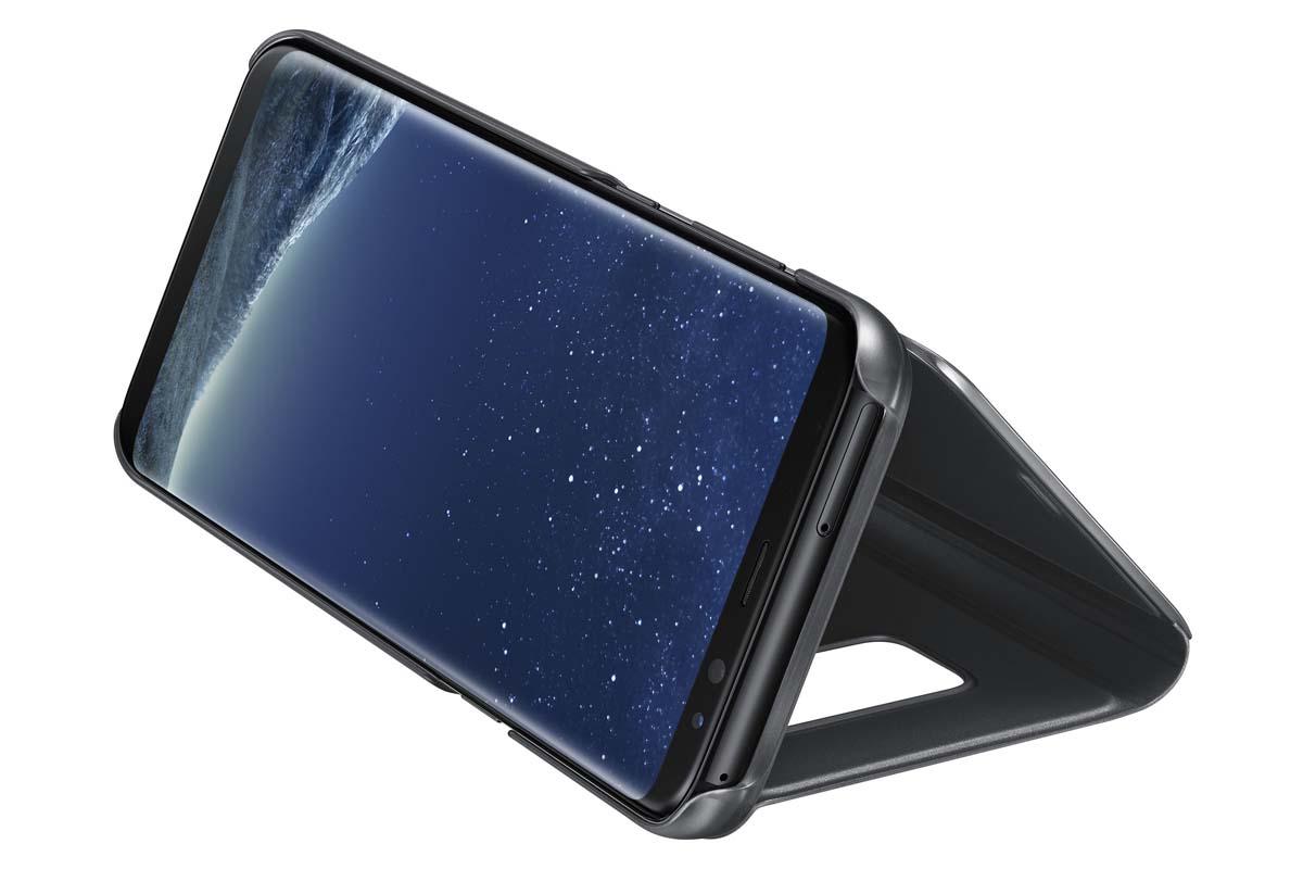 цена на Samsung EF-ZG955C Clear View Standing чехол для Galaxy S8+, Black