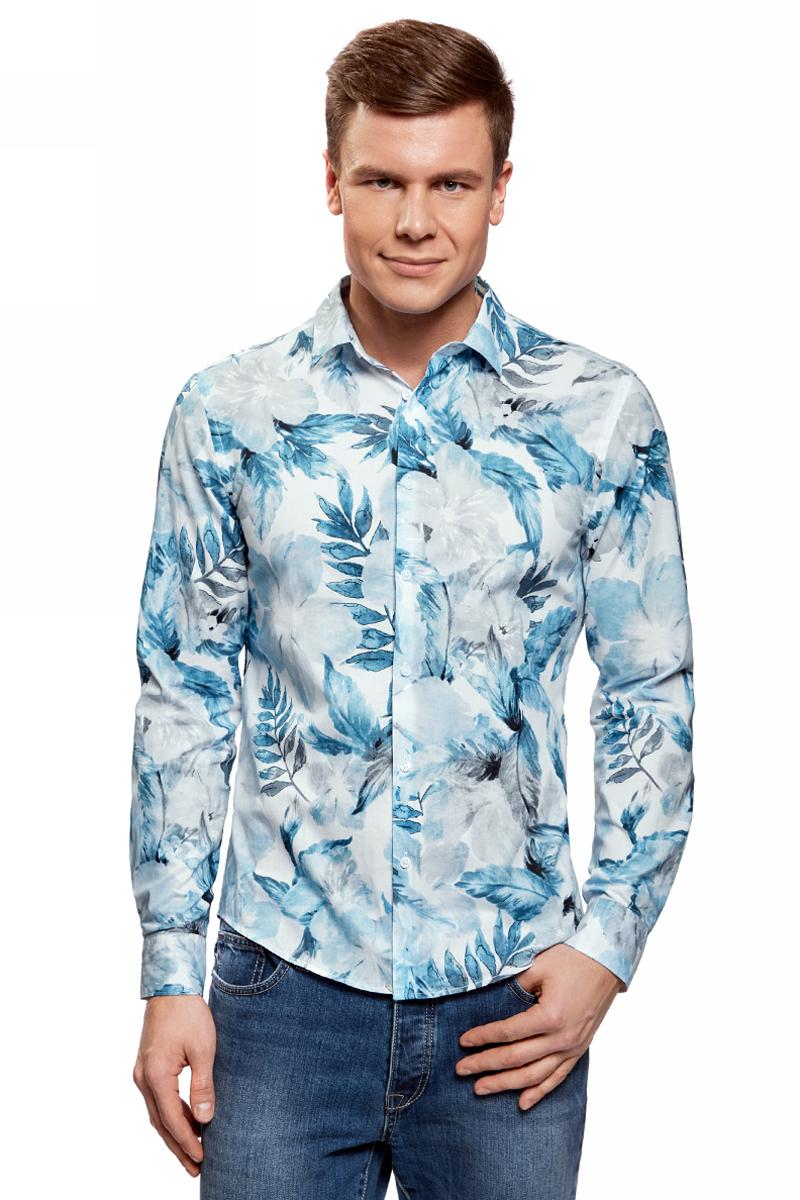 Рубашка oodji рубашка прямая с принтом и длинными рукавами