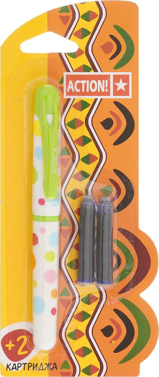Action! Ручка перьевая с двумя картриджами цвет корпуса салатовый AFP1001