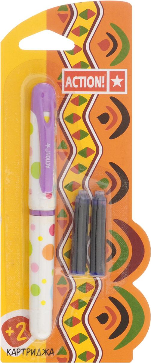 Action! Ручка перьевая с двумя картриджами цвет корпуса сиреневый