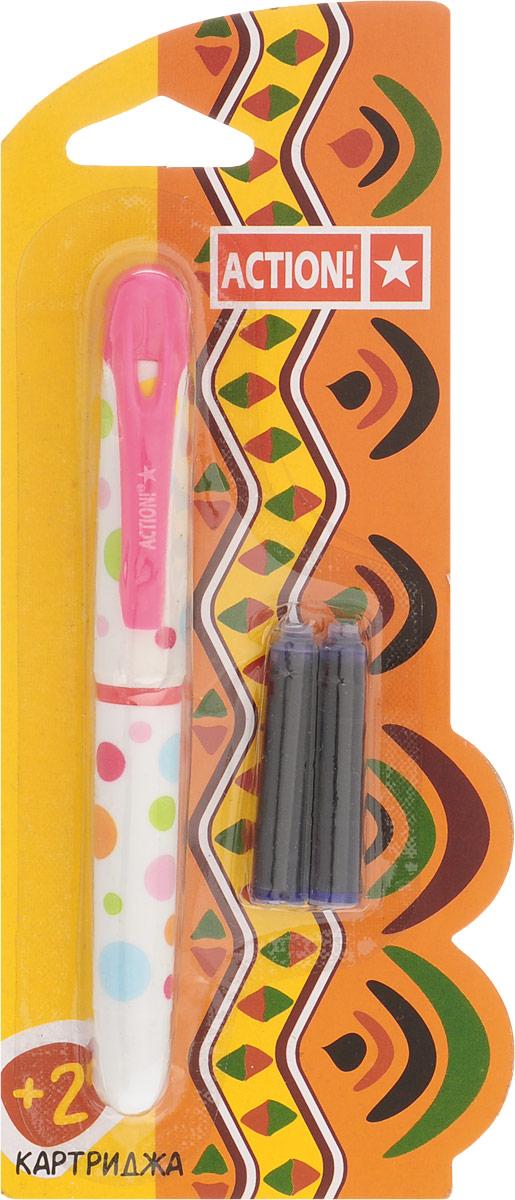 Action! Ручка перьевая с двумя картриджами цвет корпуса розовый AFP1001