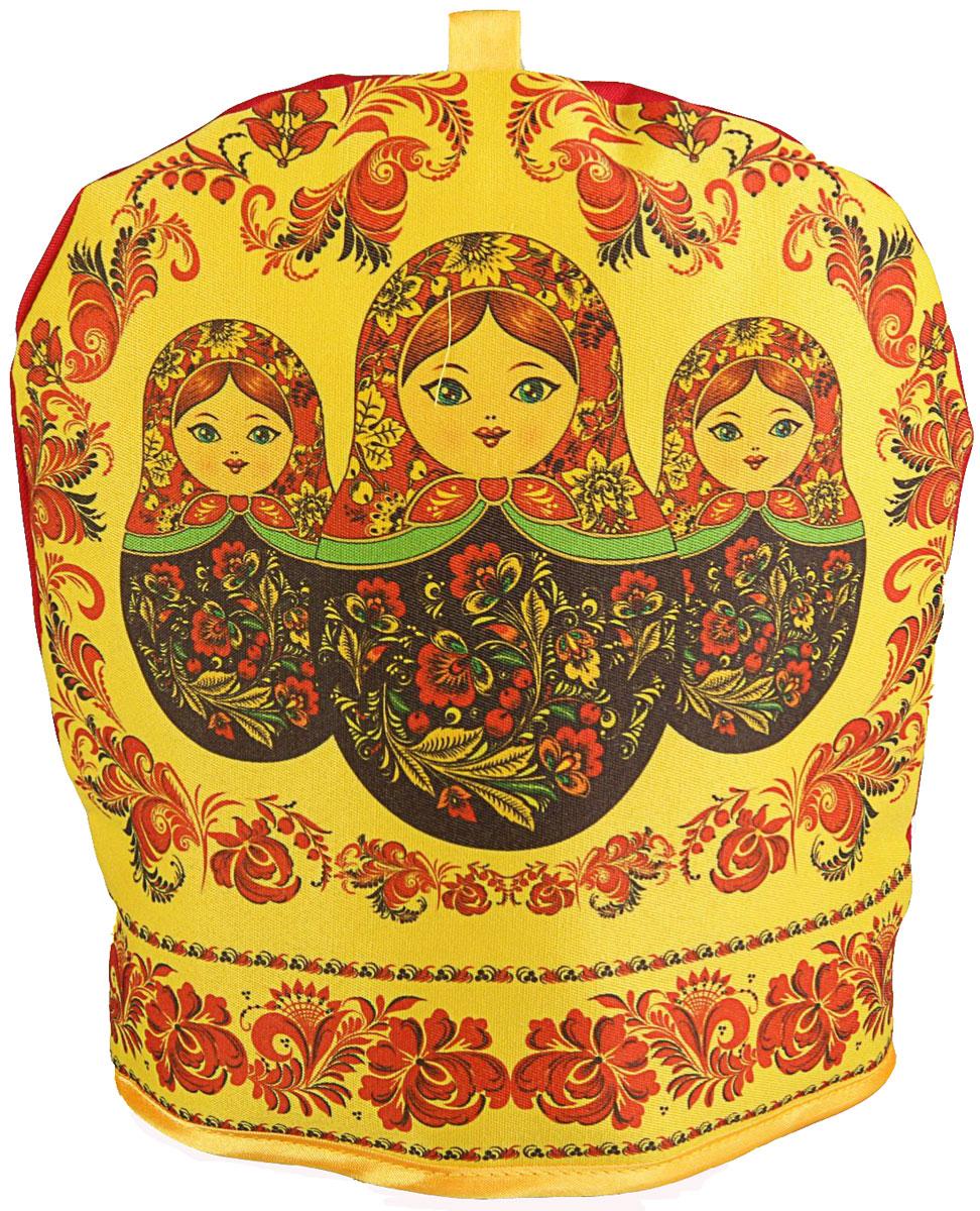 Грелка на чайник Матрешка, цвет: красный, желтый, зеленый, 25 х 24 х 3 см medrull грелка резиновая 3 2500 мл