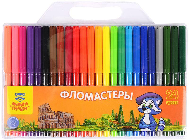 Мульти-Пульти Набор фломастеров Енот в Италии 24 цвета мульти пульти набор цветных карандашей енот в испании трехгранные 36 цветов