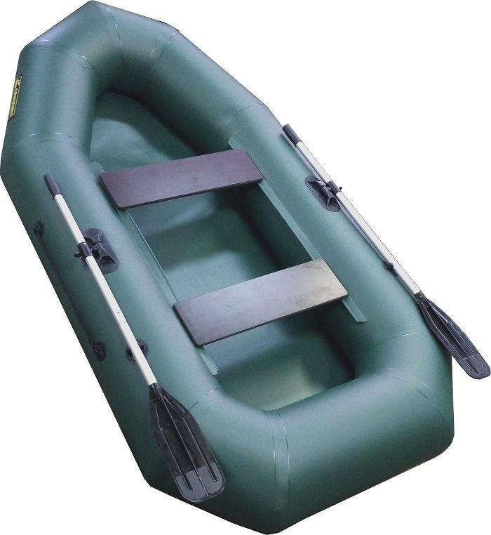 Лодка надувная Leader Компакт-255 гребная, цвет: зеленый