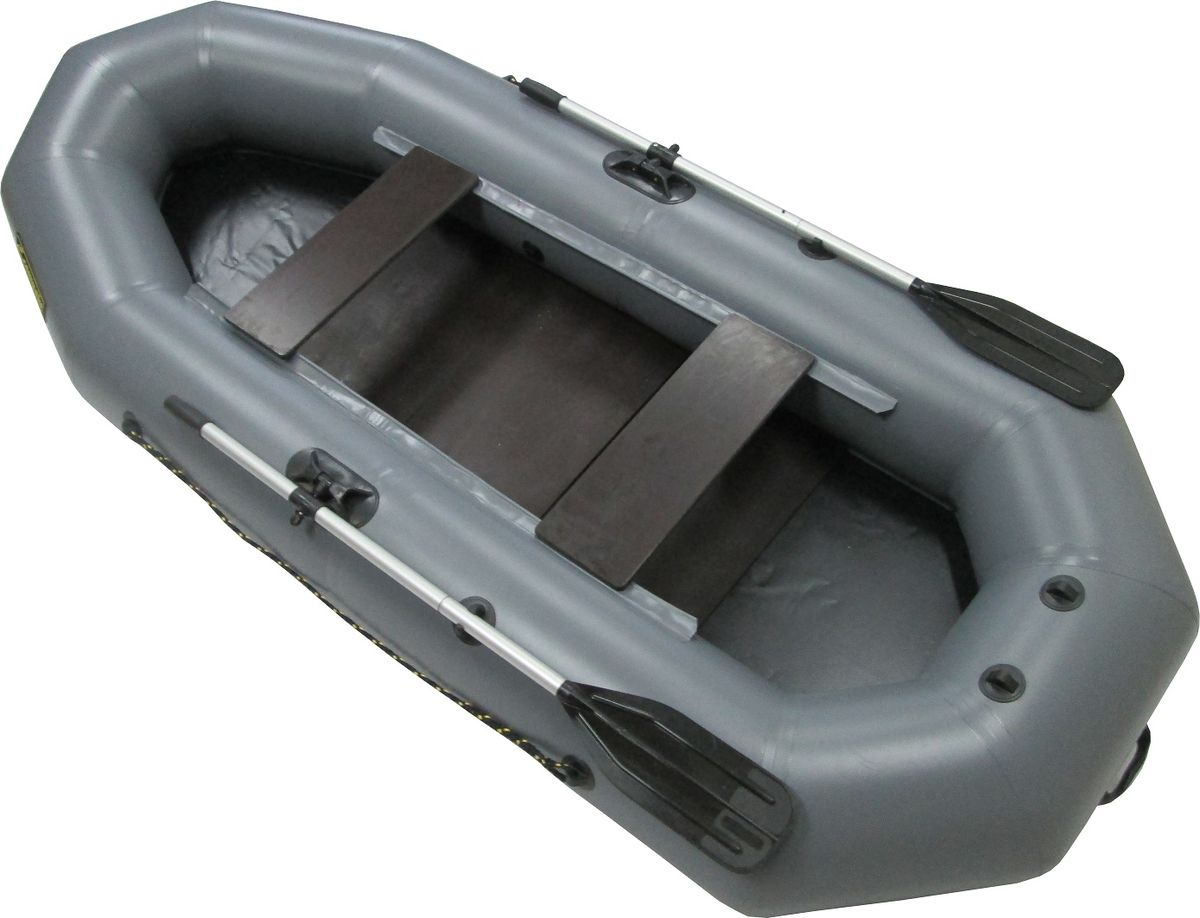 Лодка надувная Leader Компакт-280, гребная, крепление под транец, цвет: серый