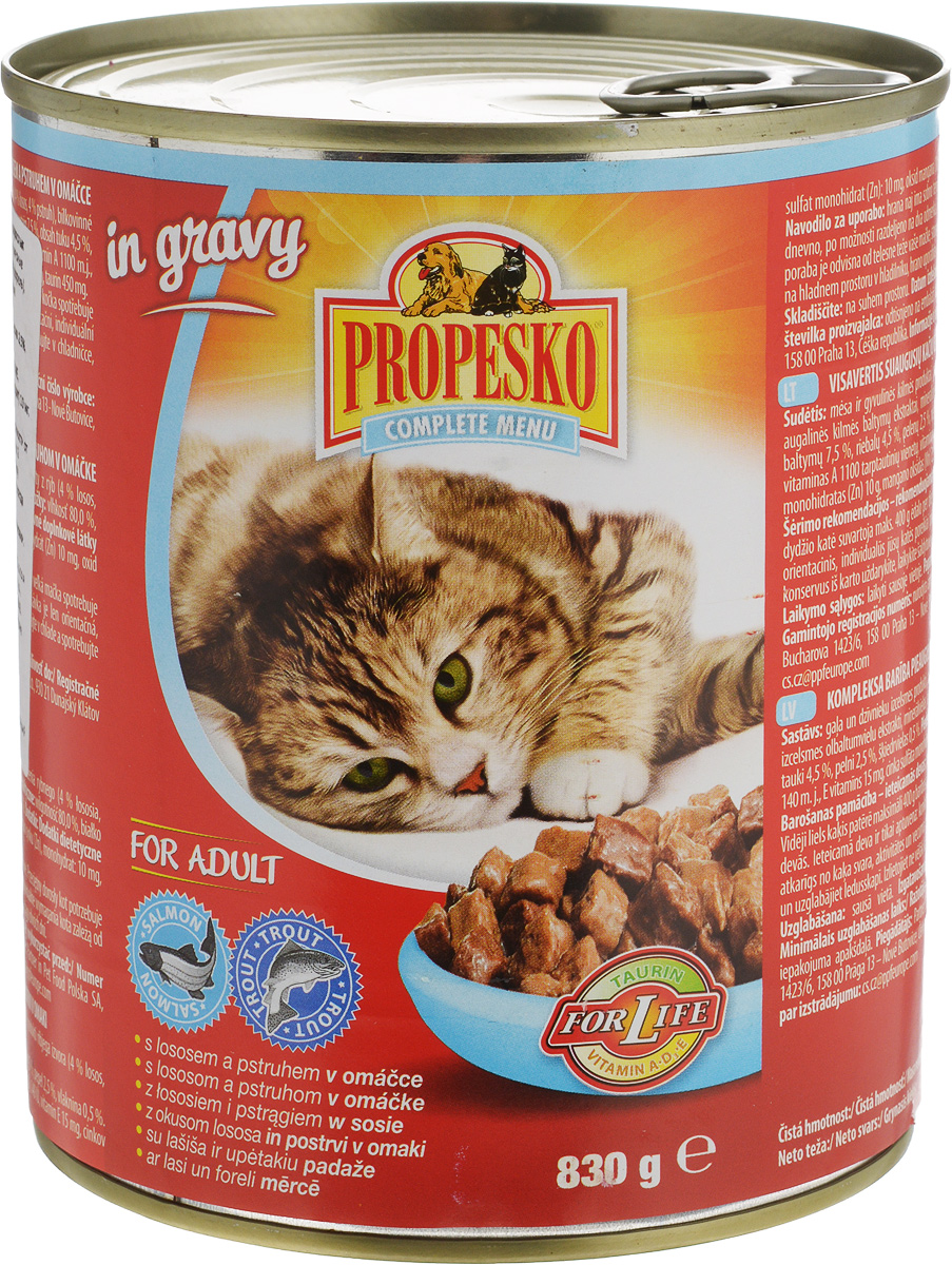 Фото - Консервы для кошек Propesko, с лососем и форелью в соусе, 830 г консервы dr clauder s для взрослых кошек мясные кусочки в желе с лососем и форелью 100 г