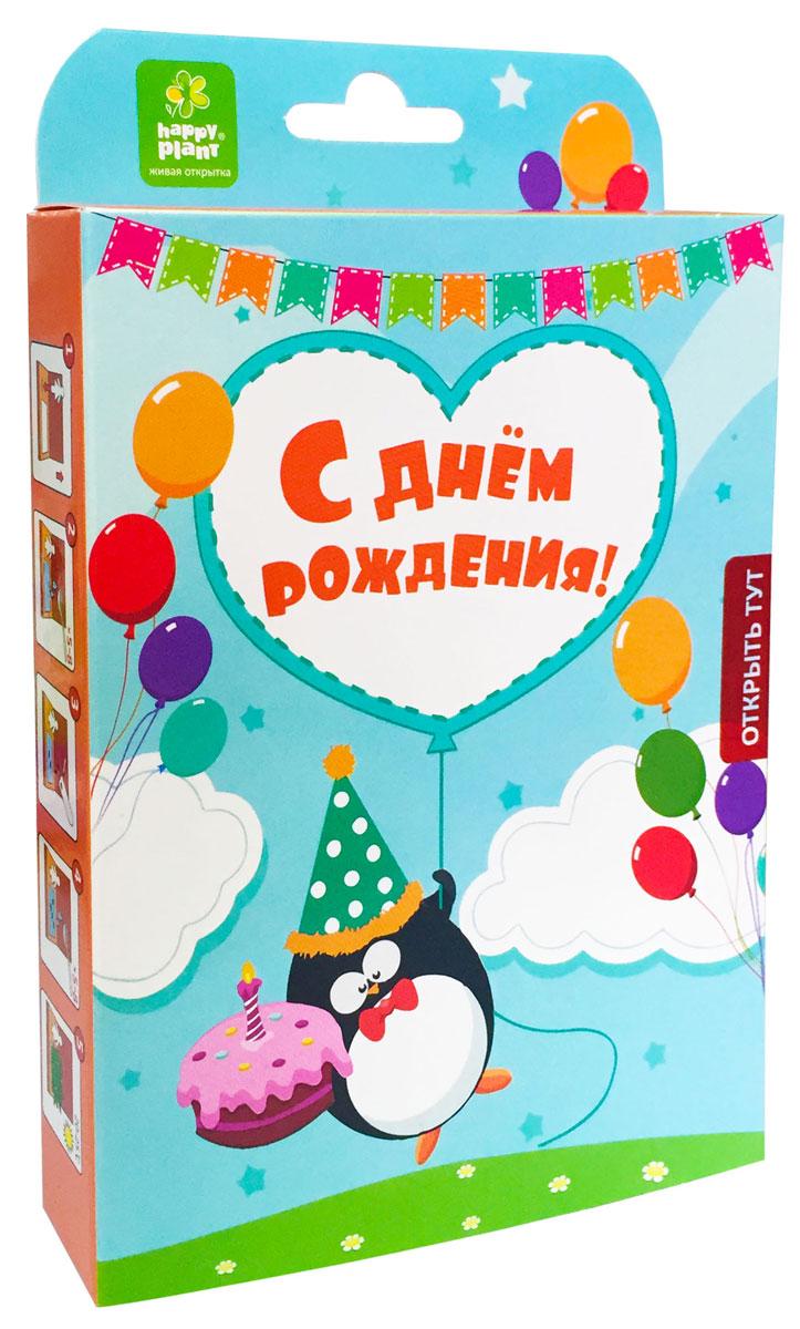 Happy Plant Набор для выращивания С днем рождения Пингвинчик набор подарочный для выращивания happy plants с днем рождения совенок