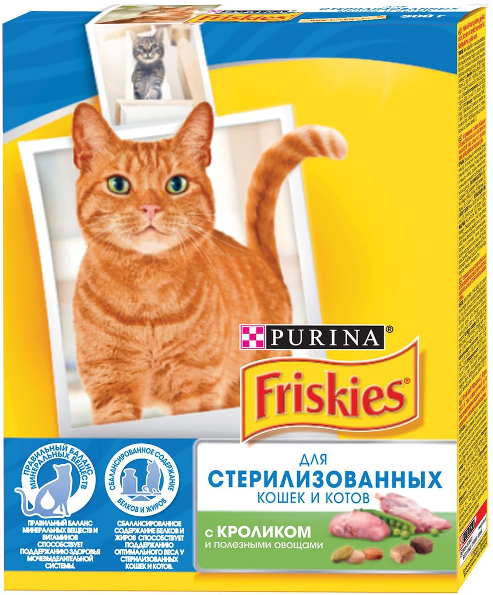 """Корм сухой """"Friskies"""" для стерилизованных кошек и кастрированных котов, с кроликом и полезными овощами, 300 г"""