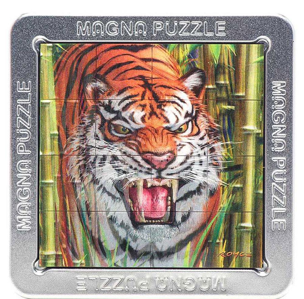 Magna Puzzle 3D пазл Тигр504Притягательный и опасный тигр будет пытаться ускользнуть от вас, но не стоит впадать в панику, поверните изображение в обратную сторону и он вернется на место.Пазл привлечет внимание каждого, вы его обязательно заметите, ведь стереоэффект завораживает! Полем для сборки служит крышка коробки. Внутри коробки находится инструкция, что, несомненно, вам поможет. Чтобы детали не потерялись, сложите их обратно в коробку, после того, как закончите собирать шедевр.