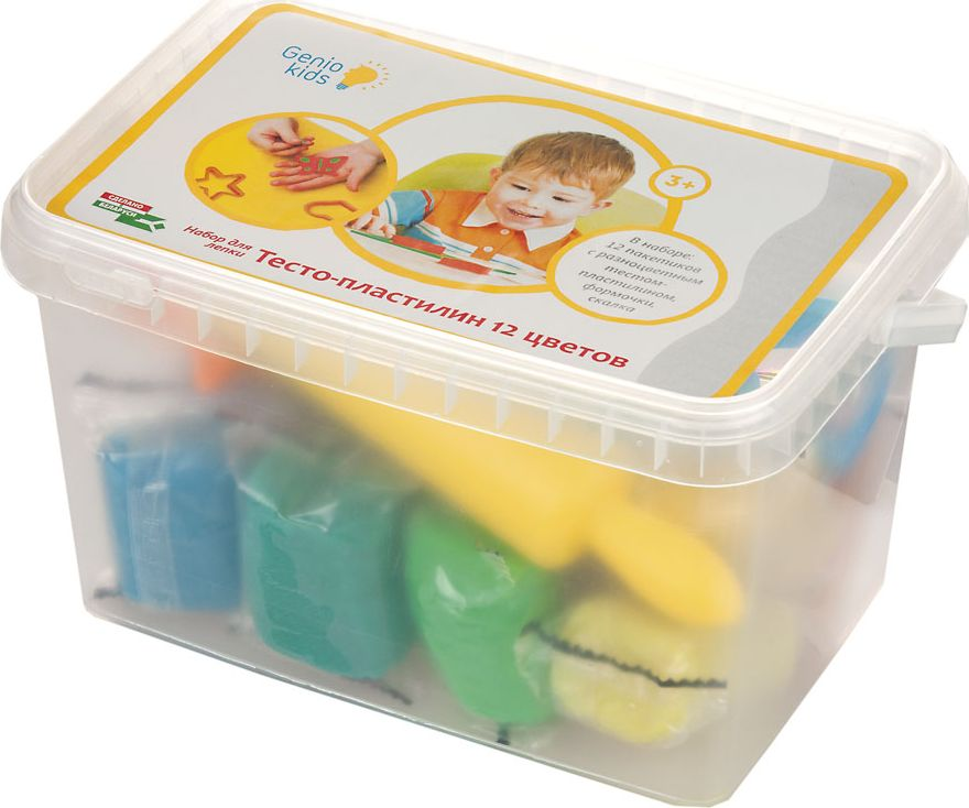 Genio Kids Тесто-пластилин 12 цветов genio kids набор для детского творчества котик