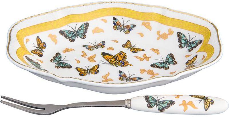 Тарелка Elan Gallery Бабочки, овальная, с вилкой, 15 х 10 х 2,5 см набор менажниц elan gallery волна оливки 3 секции с 2 шпажками 17 х 15 х 2 5 см 4 предмета
