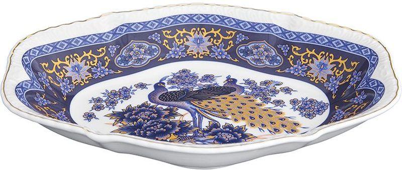 Блюдо-шпротница Elan Gallery Павлин синий, овальное, 350 мл блюдо для горячего elan gallery белый шиповник 42 х 22 5 см