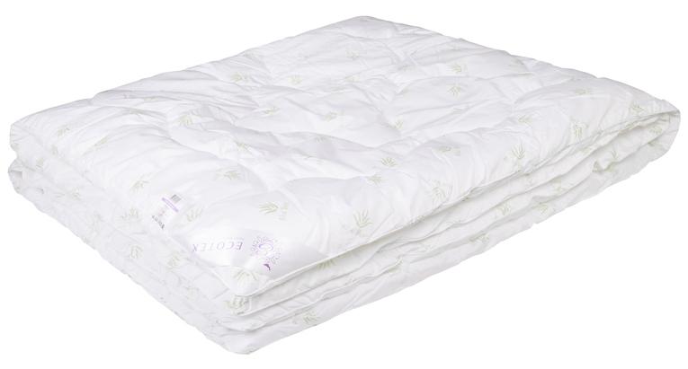 Одеяло Ecotex Алоэ вера, наполнитель: синтепух, цвет: белый, 172 х 205 см одеяло relax wool всесезонное цвет светло бежевый 172 х 205 см