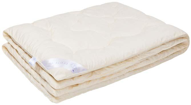 Одеяло Ecotex Роял Кашемир, наполнитель: шерсть, цвет: светло-бежевый, 140 х 205 см одеяло relax wool всесезонное цвет светло бежевый 172 х 205 см