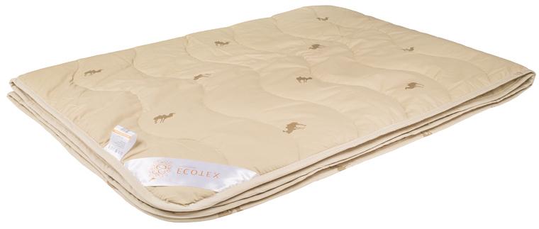 Одеяло Ecotex Премиум Караван, облегченное, наполнитель: верблюжья шерсть, цвет: светло-бежевый, 172 х 205 см одеяло relax wool всесезонное цвет светло бежевый 172 х 205 см