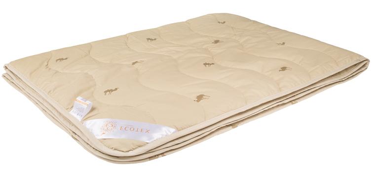 Одеяло Ecotex Премиум Караван, облегченное, наполнитель: верблюжья шерсть, цвет: светло-бежевый, 200 х 220 см одеяла пиллоу одеяло халлофайбер эко очень теплое 140х205 см