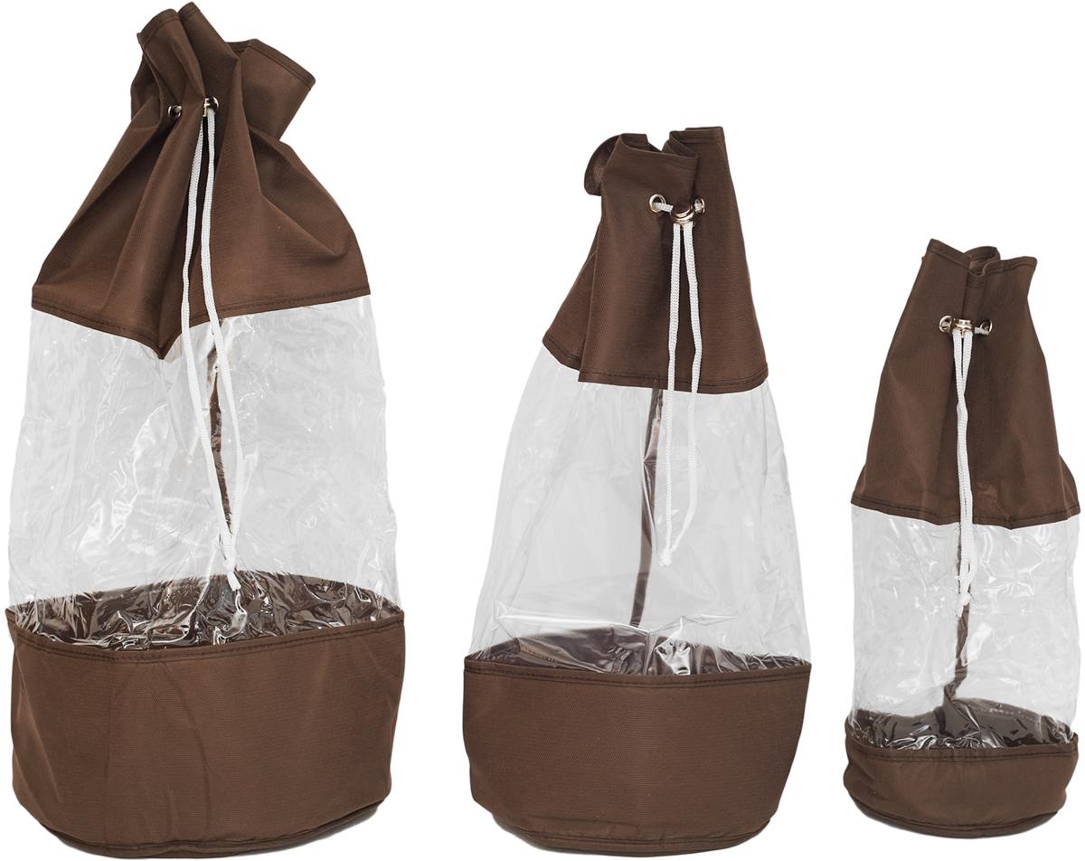 Набор мешочков Все на местах Minimalistic, цвет: темно-коричневый, 3 предмета набор мешочков для завтрака paclan 17 см х 24 см 50 шт